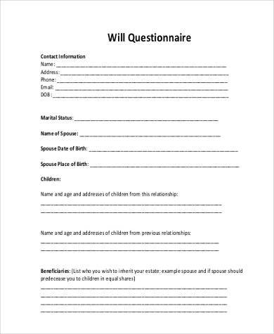 will questionnaire form example