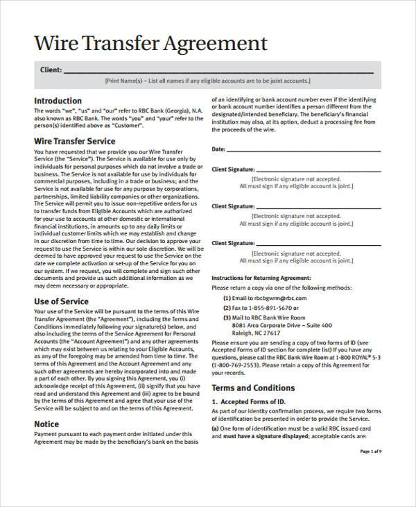 wire transfer agreement form