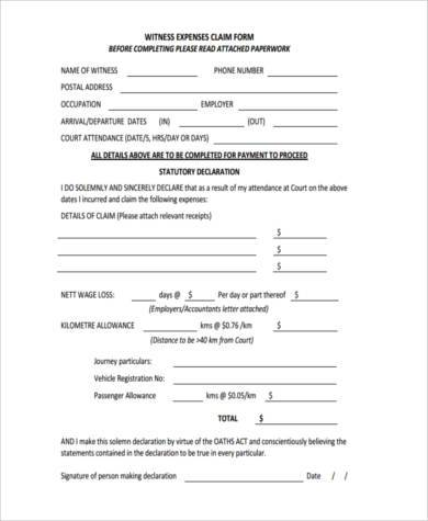 witness expense claim form