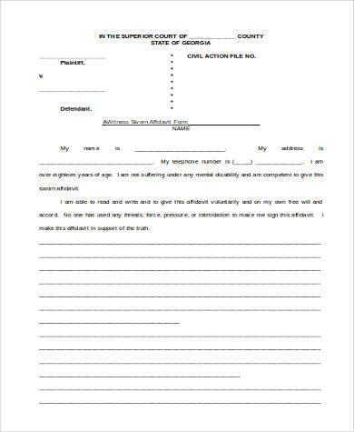 witness sworn affidavit form