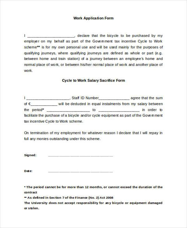 Work Application Sample Forms - 7+ Free Documents In Doc, Pdf