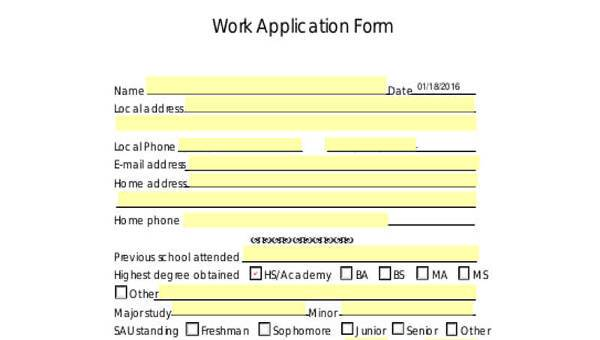 work application sample forms 7 free documents in doc pdf