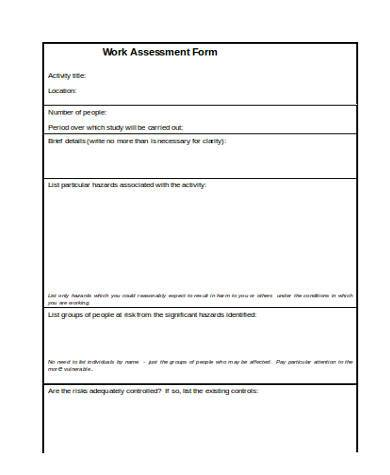 work assessment form in word format
