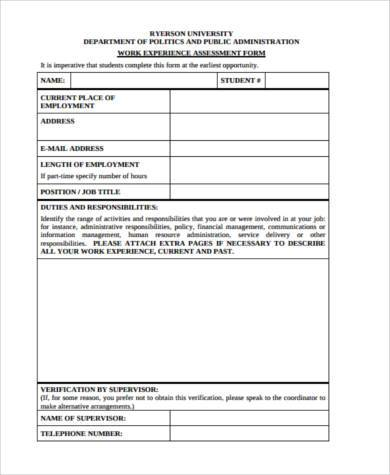 work experience assessment form