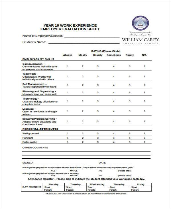 work experience employer evaluation form
