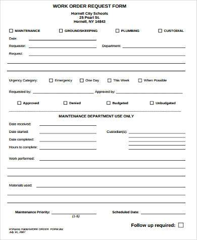 Work Request Form Maintenance Work Order Templates Work Order