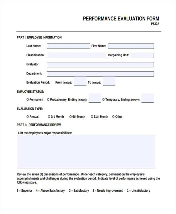Work Evaluation Form Samples  Free Sample Example Format Download