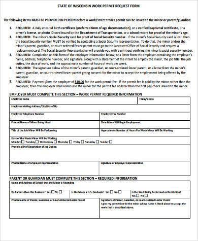 work permit request form