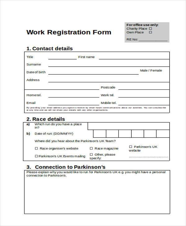 work registration form in doc