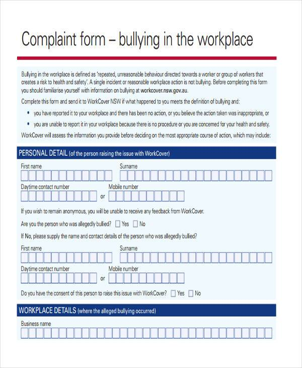 workplace bullying complaint form1