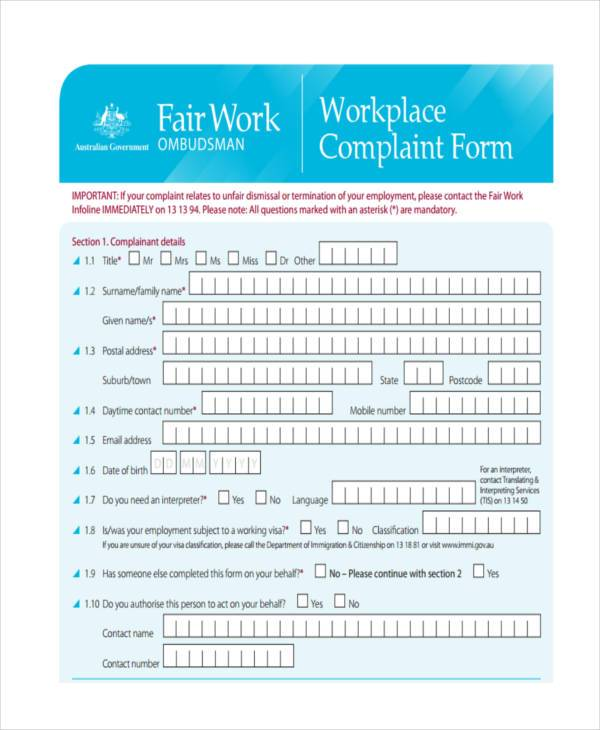 workplace complaint form example