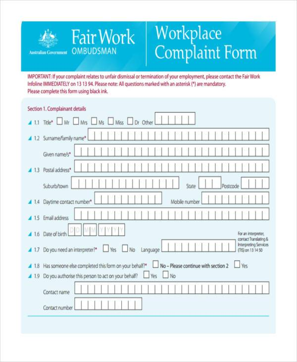 workplace complaint form example1