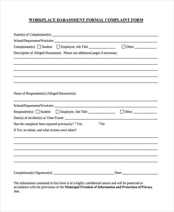 Sample Workplace Complaint Forms   Free Documents In Word Pdf