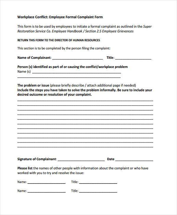 workplace formal complaint form