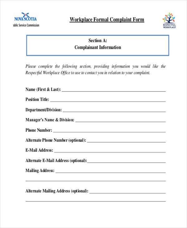 workplace formal complaint form1