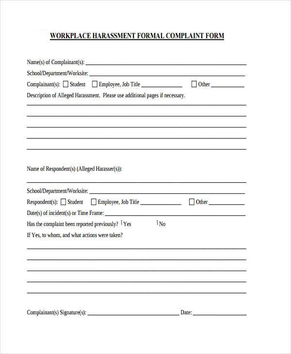 Workplace Complaint Form Samples  Free Sample Example Format