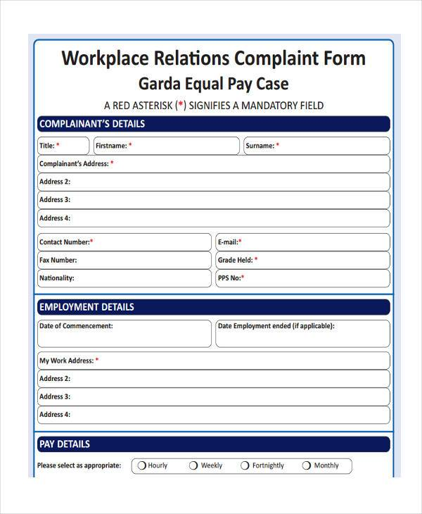 workplace relations complaint form