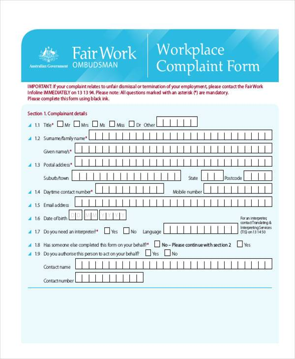workplace relations complaint form2