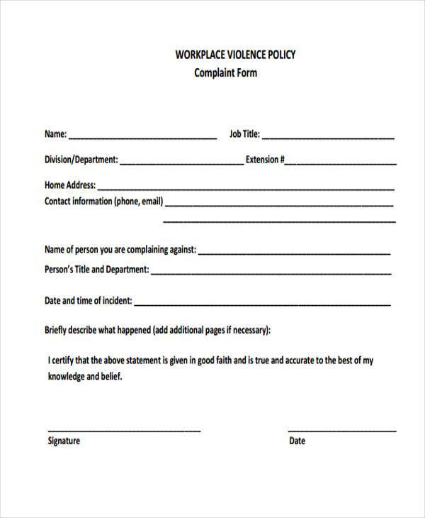 workplace violence policy complaint form