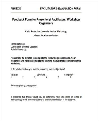 workshop feedback form sample