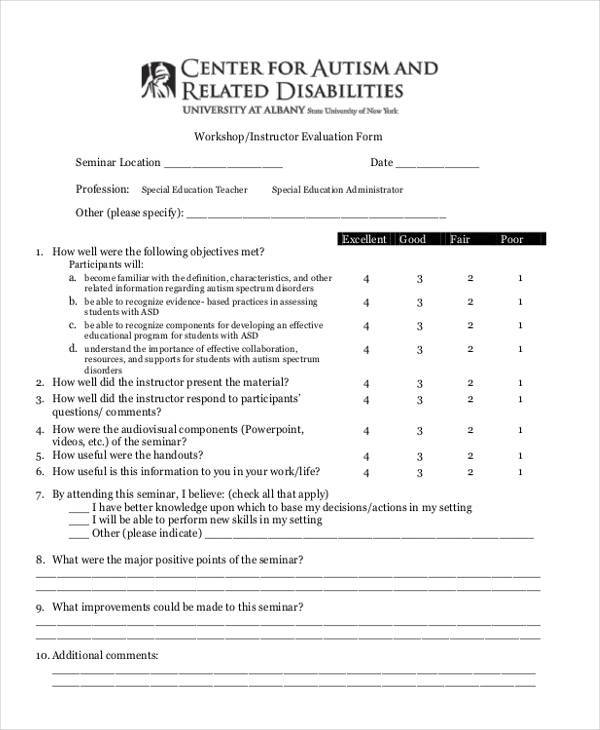 workshop instructor evaluation form