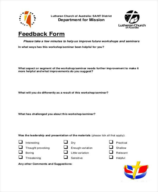 workshop seminar feedback form