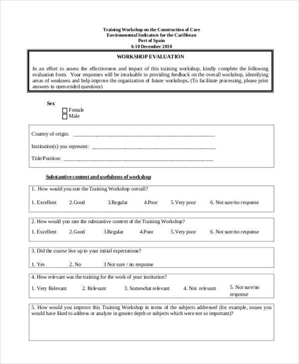 workshop training evaluation form