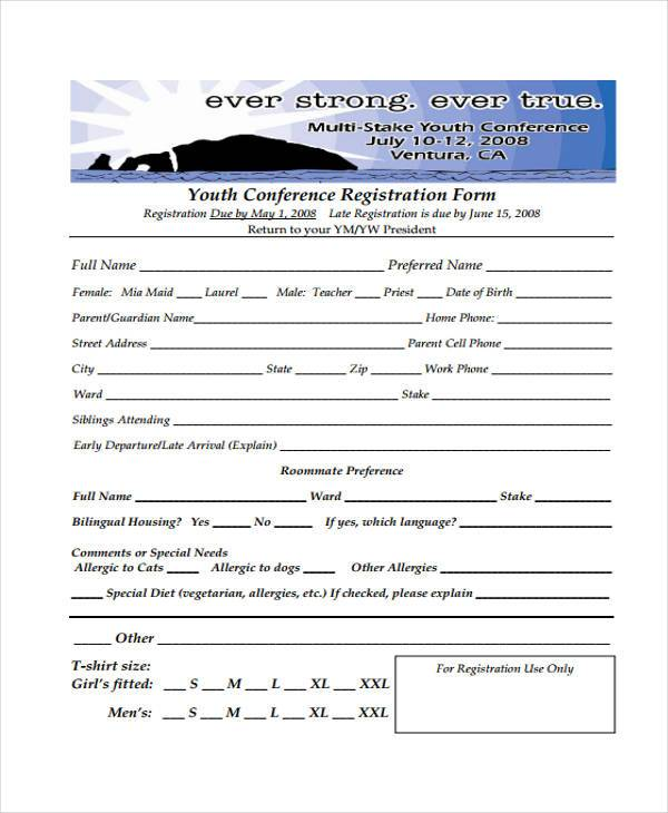8 conference registration form samples free sample for Sample workshop registration form template