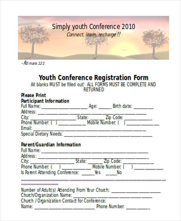 Registration form templates for Sample workshop registration form template