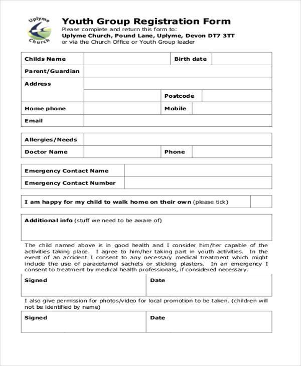 7+ Youth Group Registration Form Samples - Free Sample, Example