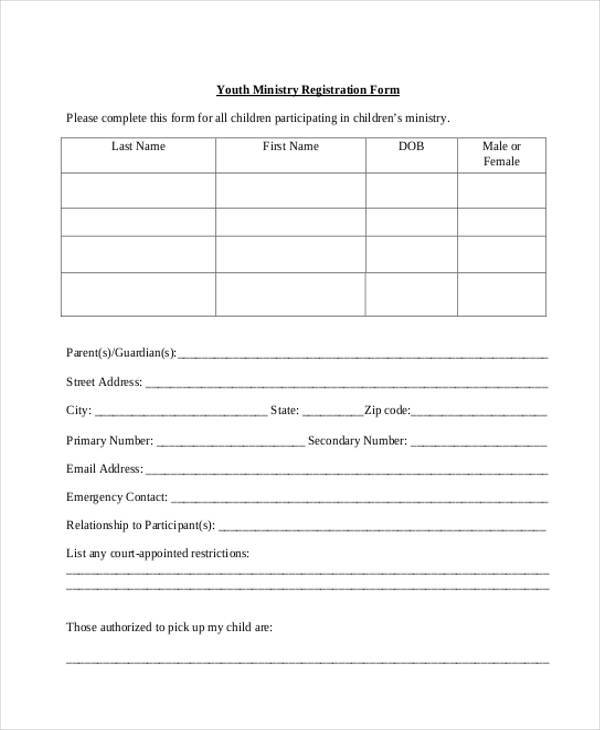 youth ministry group registration form