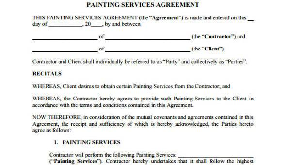 Writing service contract agreement