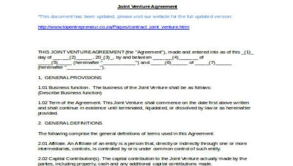 7 Joint Venture Agreement Form Samples Free Sample Example