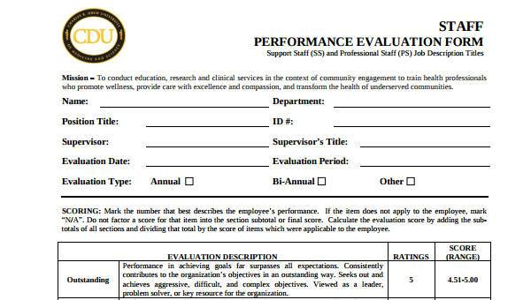 9 performance evaluation form samples free sample example format