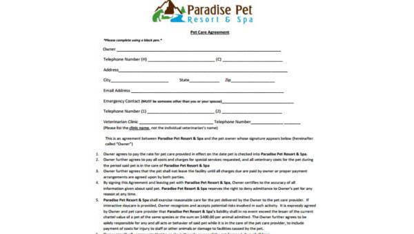 Sample Pet Agreement Forms In Pdf