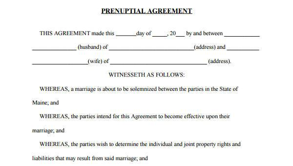 Free 6 Prenuptial Agreement Form Samples In Sample Example