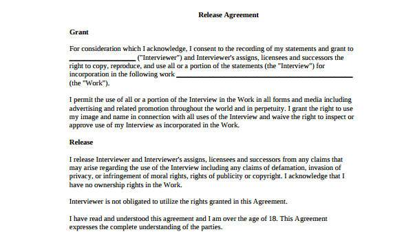 7 Release Agreement Form Samples Free Sample Example Format Download