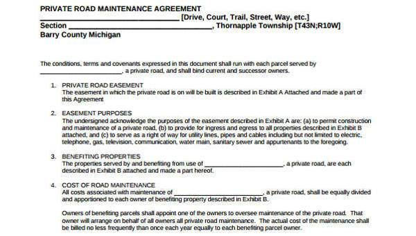 Sample Road Maintenance Agreement Form