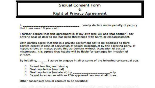 Consensual sex agreement