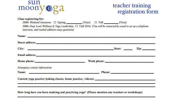 Free 8 Sample Teacher Registration Forms In Pdf Ms Word