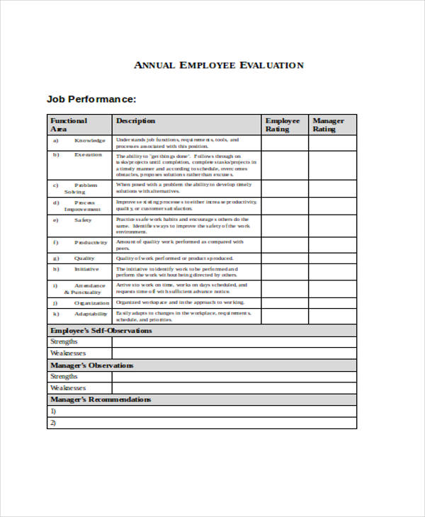 1 year employee evaluation form