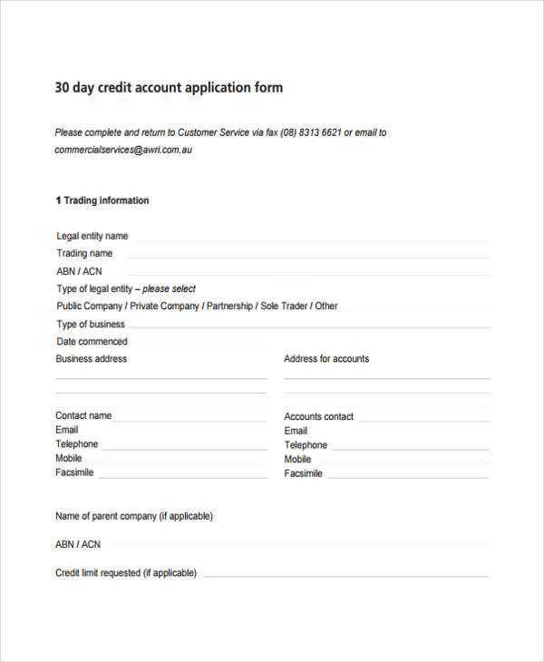 30 day commercial credit application form