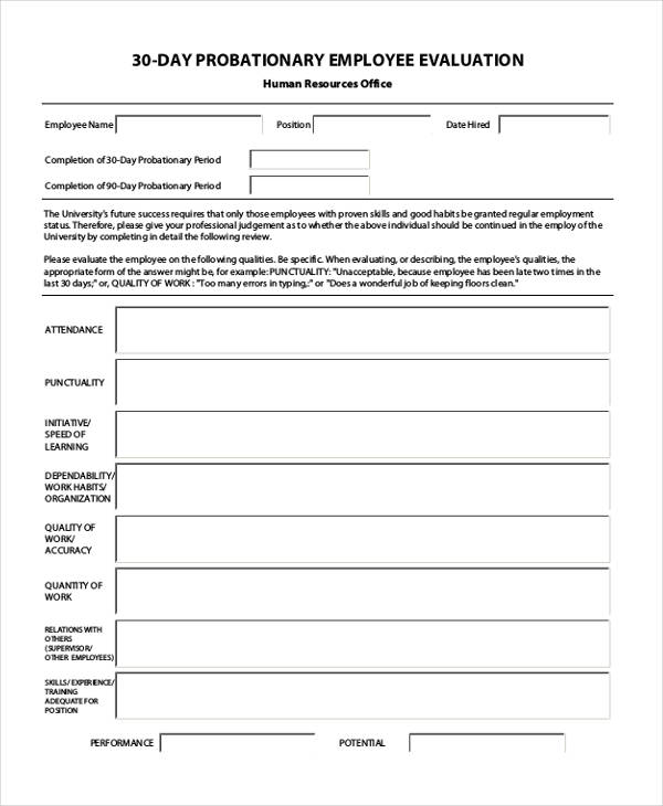 30 day probationary employee evaluation form2