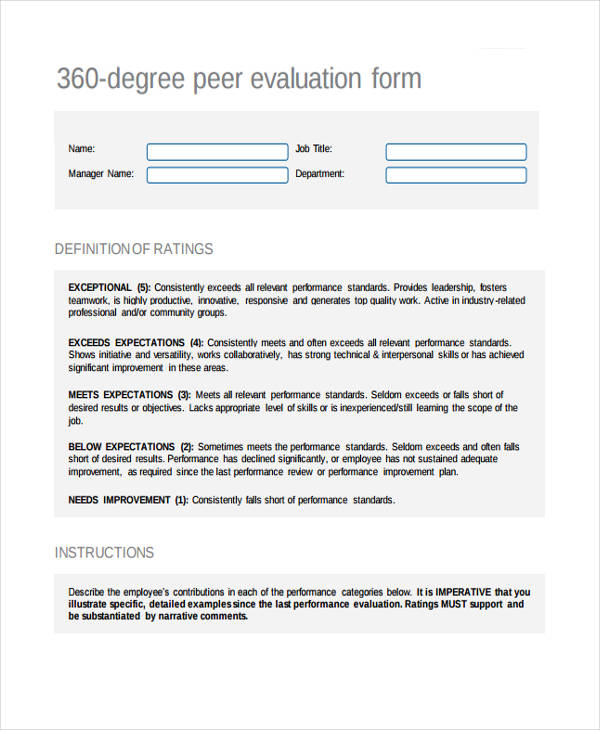 360 degree employee peer evaluation form