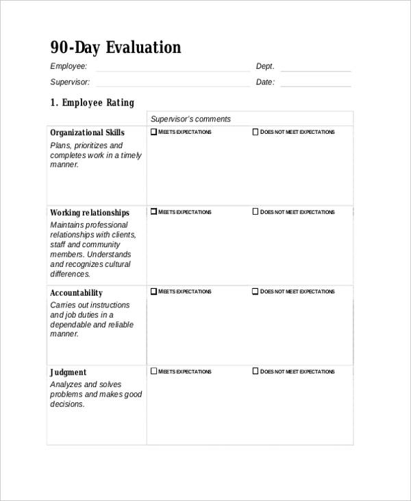 90 day employee evaluation form example