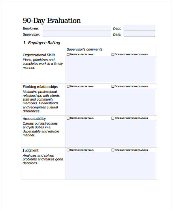 90 day employee performance evaluation form1