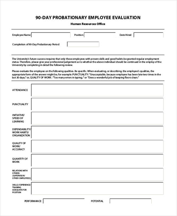 90 day probationary employee evaluation form2