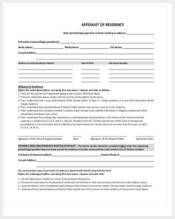 affidavit of residency long form