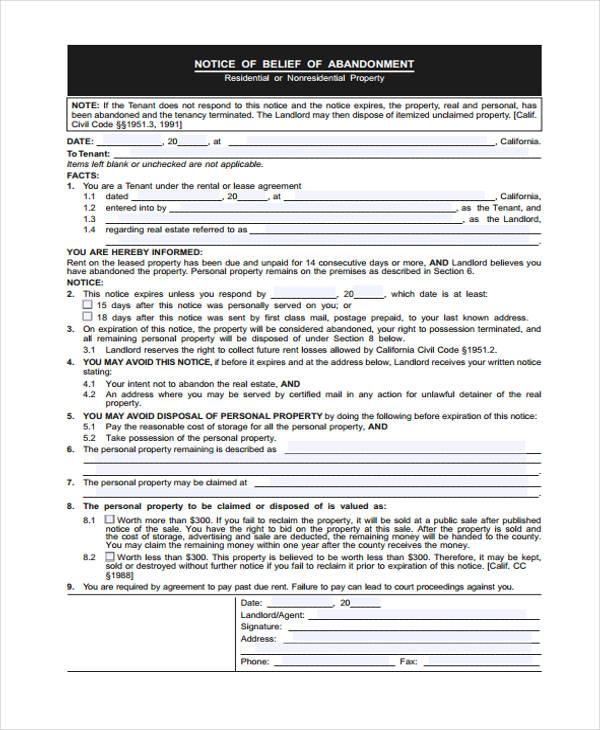 abandoned property notice form