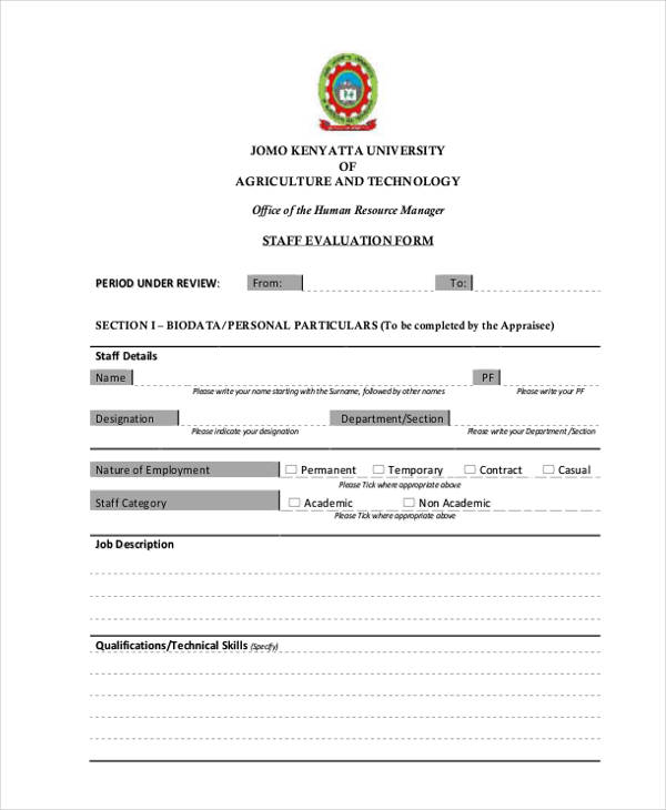 academic staff employee evaluation form